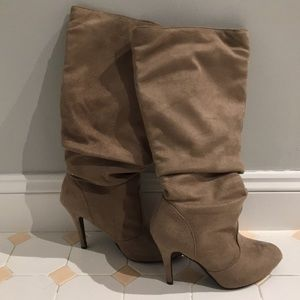 Suede calf high boots